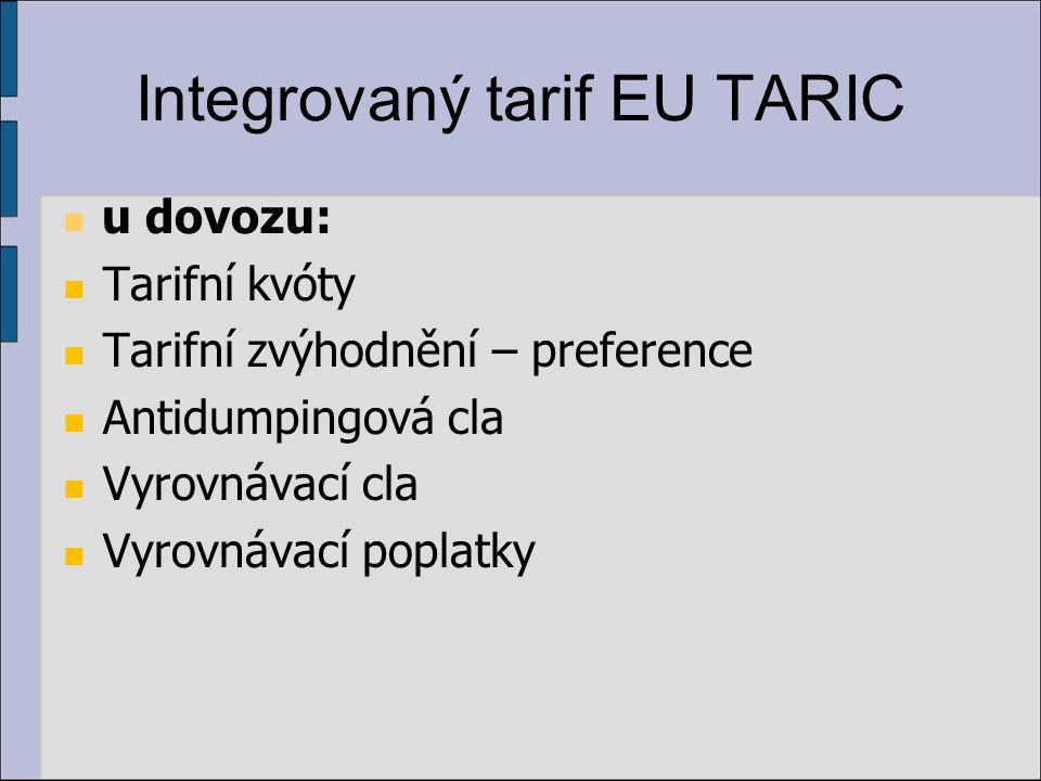 Integrovaný tarif EU TARIC u dovozu: Tarifní kvóty Tarifní zvýhodnění – preference Antidumpingová cla Vyrovnávací cla Vyrovnávací poplatky