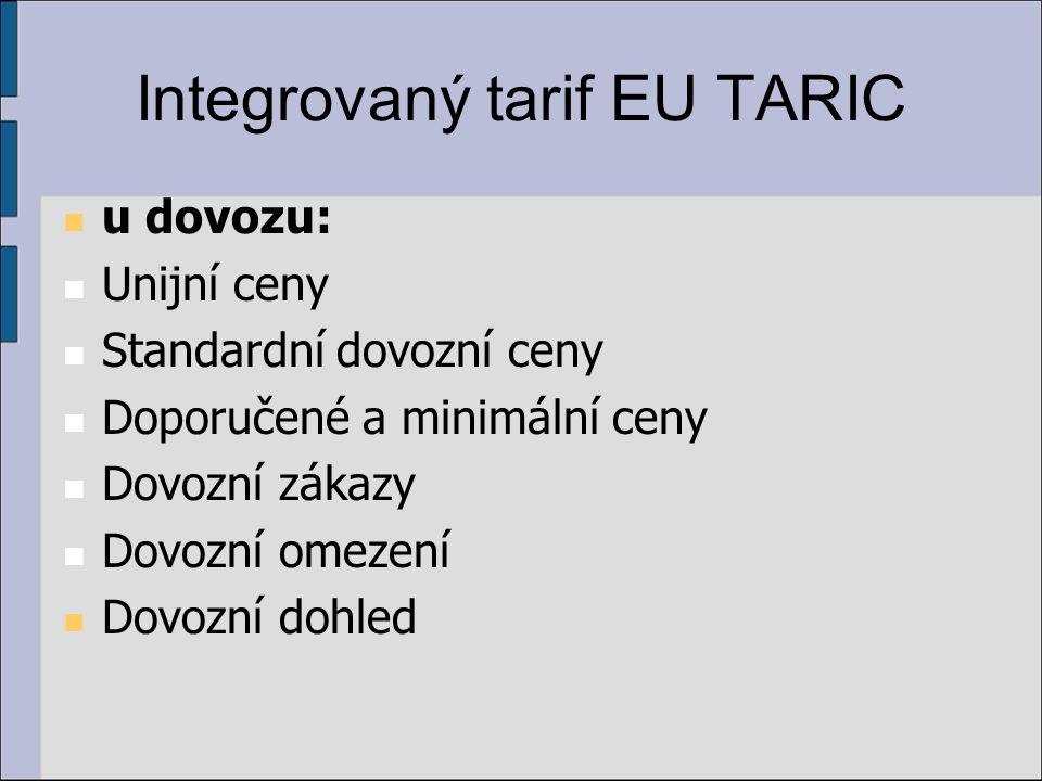 Integrovaný tarif EU TARIC u dovozu: Unijní ceny Standardní dovozní ceny Doporučené a minimální ceny Dovozní zákazy Dovozní omezení Dovozní dohled