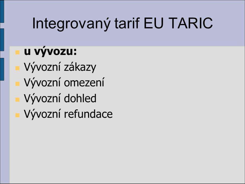 Integrovaný tarif EU TARIC u vývozu: Vývozní zákazy Vývozní omezení Vývozní dohled Vývozní refundace