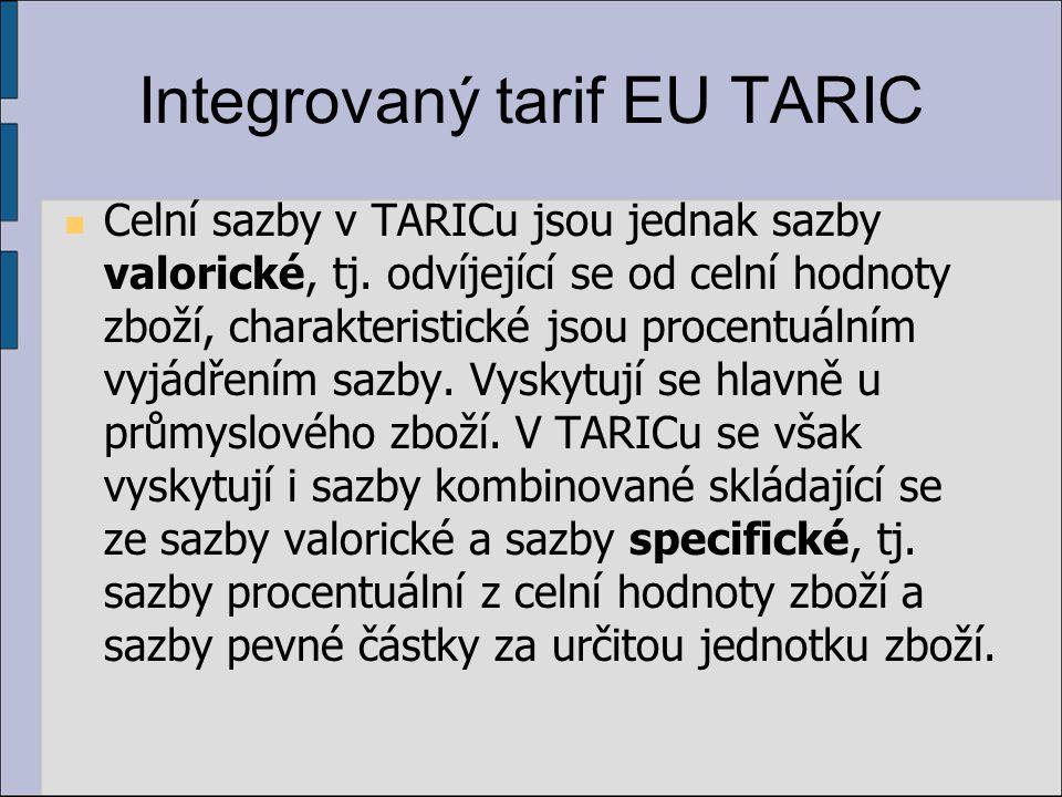 Integrovaný tarif EU TARIC Celní sazby v TARICu jsou jednak sazby valorické, tj.