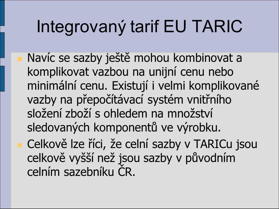 Integrovaný tarif EU TARIC Navíc se sazby ještě mohou kombinovat a komplikovat vazbou na unijní cenu nebo minimální cenu.