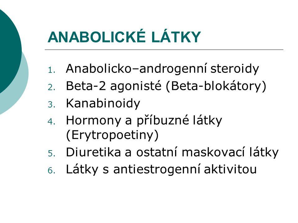 ANABOLICKÉ LÁTKY 1. Anabolicko–androgenní steroidy 2. Beta-2 agonisté (Beta-blokátory) 3. Kanabinoidy 4. Hormony a příbuzné látky (Erytropoetiny) 5. D