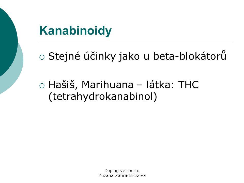 Doping ve sportu Zuzana Zahradníčková Kanabinoidy  Stejné účinky jako u beta-blokátorů  Hašiš, Marihuana – látka: THC (tetrahydrokanabinol)