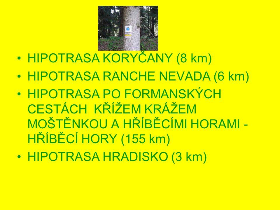 HIPOTRASA KORYČANY (8 km) HIPOTRASA RANCHE NEVADA (6 km) HIPOTRASA PO FORMANSKÝCH CESTÁCH KŘÍŽEM KRÁŽEM MOŠTĚNKOU A HŘÍBĚCÍMI HORAMI - HŘÍBĚCÍ HORY (155 km) HIPOTRASA HRADISKO (3 km)