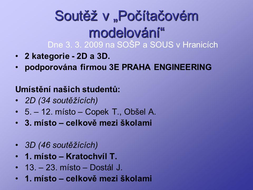 """Soutěž v """"Počítačovém modelování"""" Dne 3. 3. 2009 na SOŠP a SOUS v Hranicích 2 kategorie - 2D a 3D. podporována firmou 3E PRAHA ENGINEERING Umístění na"""