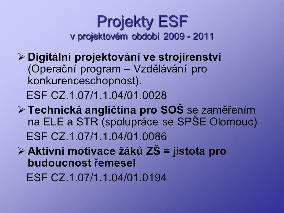 Projekty ESF v projektovém období 2009 - 2011  Digitální projektování ve strojírenství (Operační program – Vzdělávání pro konkurenceschopnost). ESF C