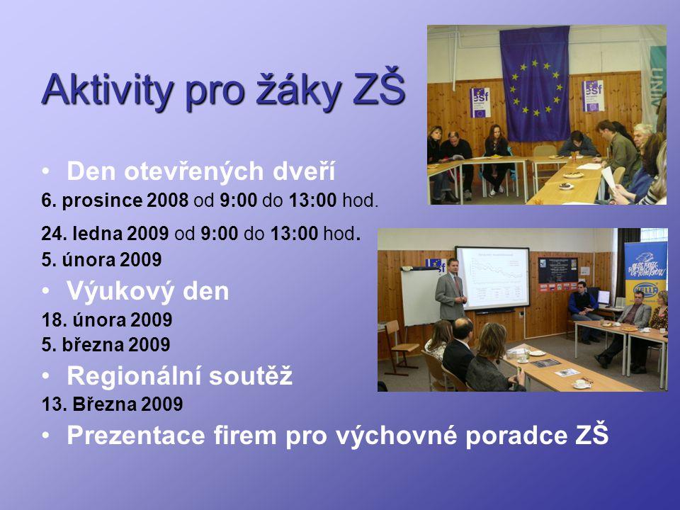 Aktivity pro žáky ZŠ Den otevřených dveří 6. prosince 2008 od 9:00 do 13:00 hod. 24. ledna 2009 od 9:00 do 13:00 hod. 5. února 2009 Výukový den 18. ún