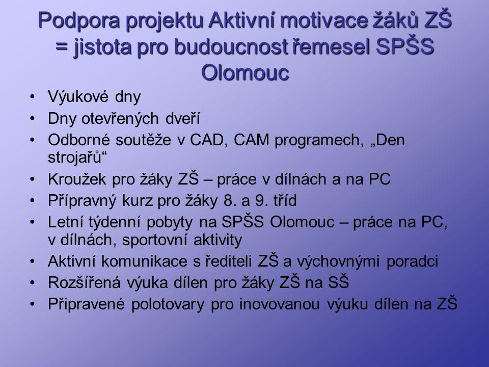 Podpora projektu Aktivní motivace žáků ZŠ = jistota pro budoucnost řemesel SPŠS Olomouc Výukové dny Dny otevřených dveří Odborné soutěže v CAD, CAM pr