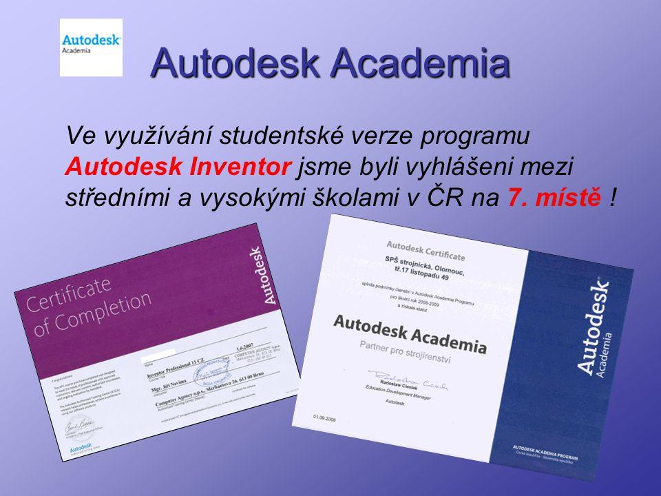 Autodesk Academia Ve využívání studentské verze programu Autodesk Inventor jsme byli vyhlášeni mezi středními a vysokými školami v ČR na 7. místě !