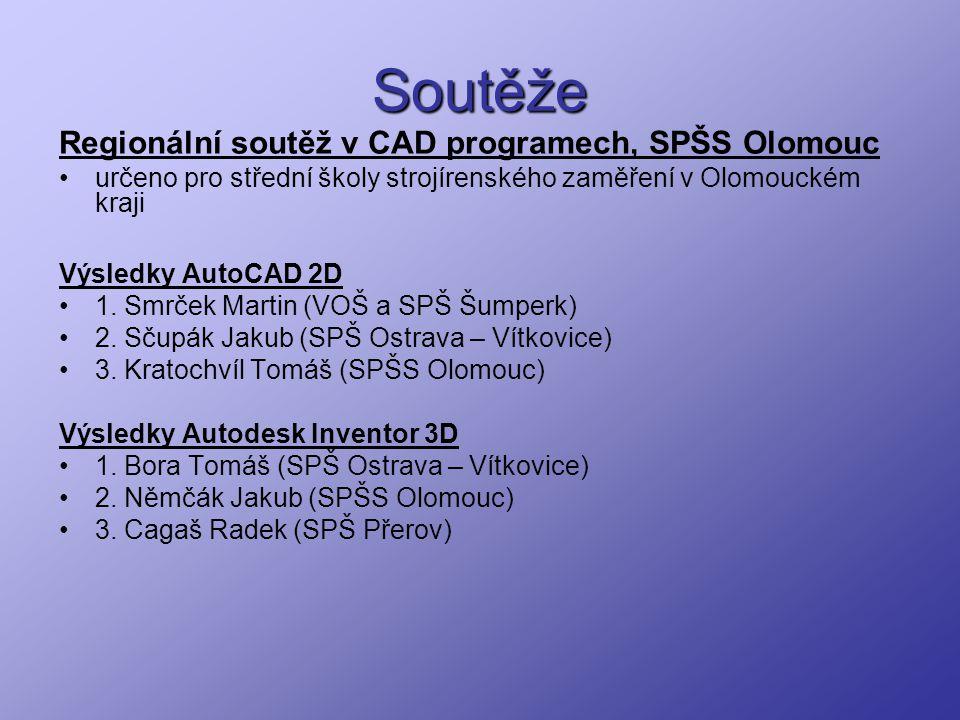 Soutěže Regionální soutěž v CAD programech, SPŠS Olomouc určeno pro střední školy strojírenského zaměření v Olomouckém kraji Výsledky AutoCAD 2D 1. Sm