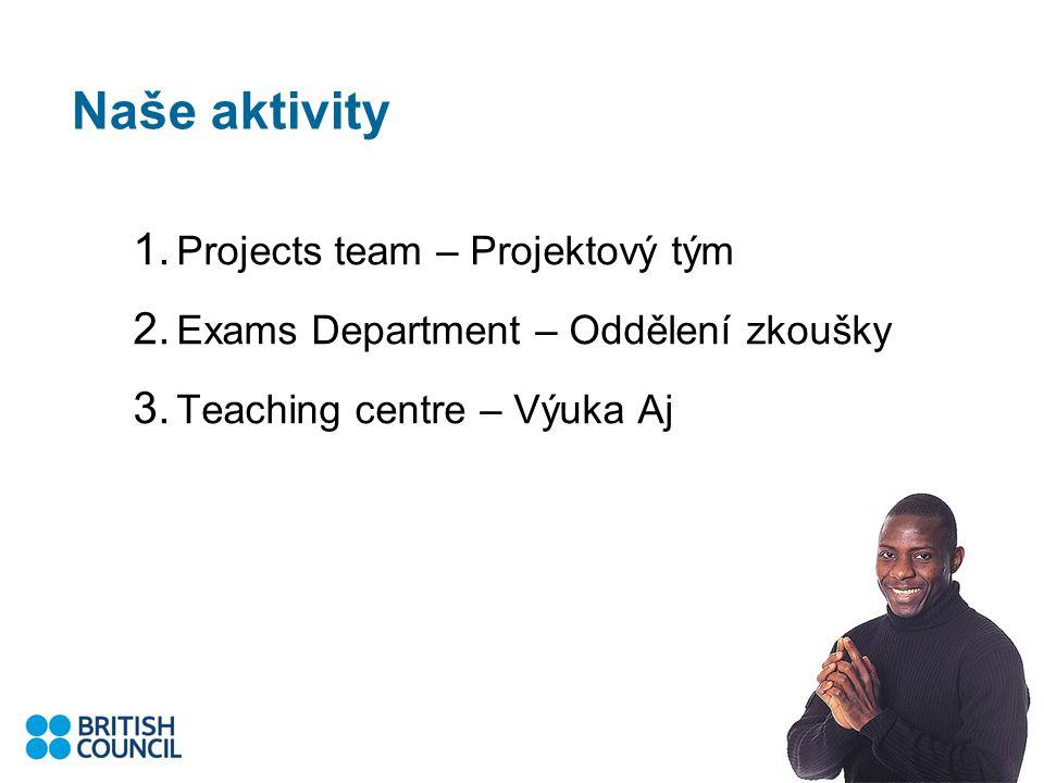 Naše aktivity 1. Projects team – Projektový tým 2.