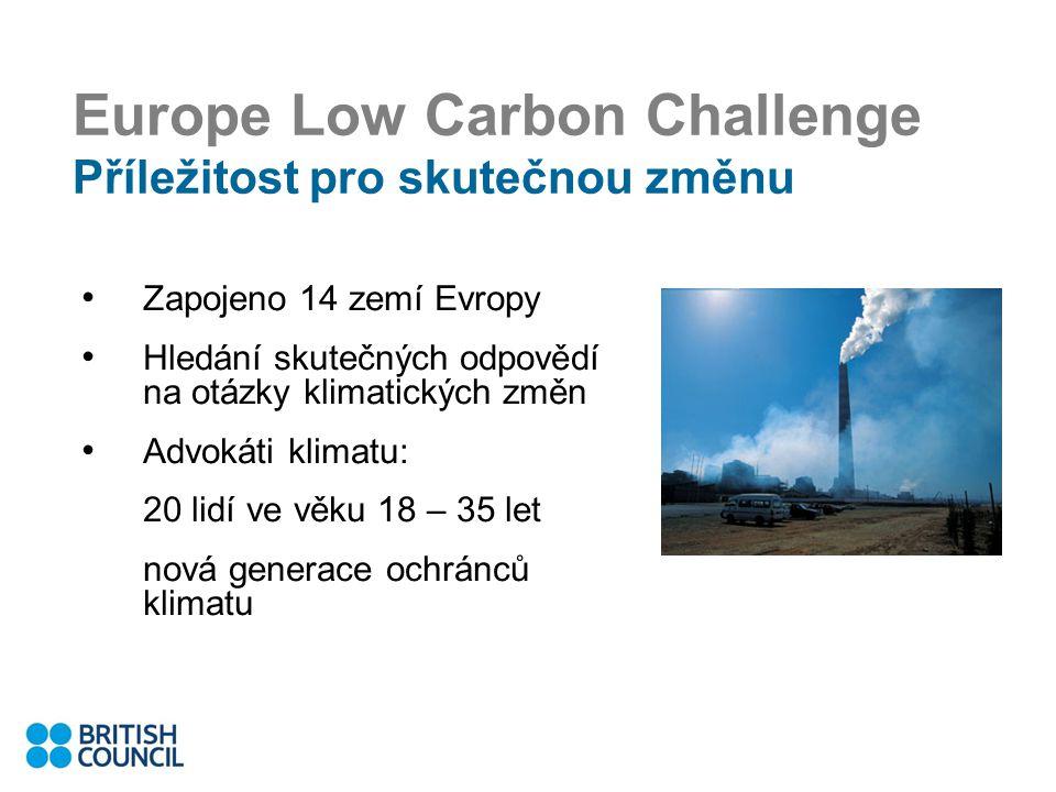 Europe Low Carbon Challenge Příležitost pro skutečnou změnu Zapojeno 14 zemí Evropy Hledání skutečných odpovědí na otázky klimatických změn Advokáti klimatu: 20 lidí ve věku 18 – 35 let nová generace ochránců klimatu