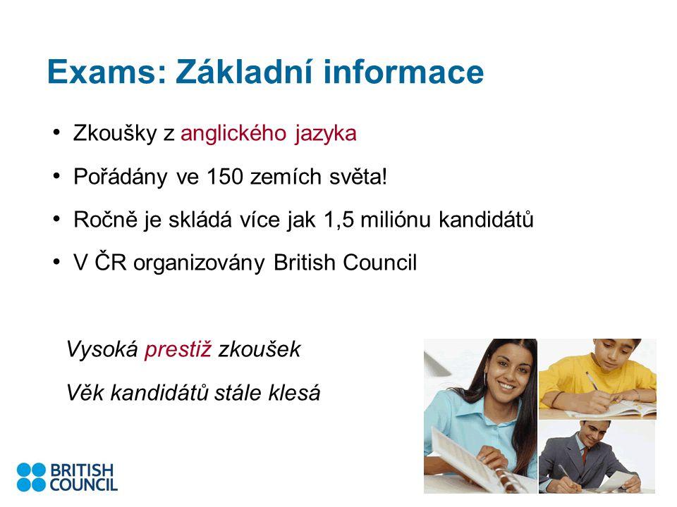 Exams: Základní informace Zkoušky z anglického jazyka Pořádány ve 150 zemích světa.