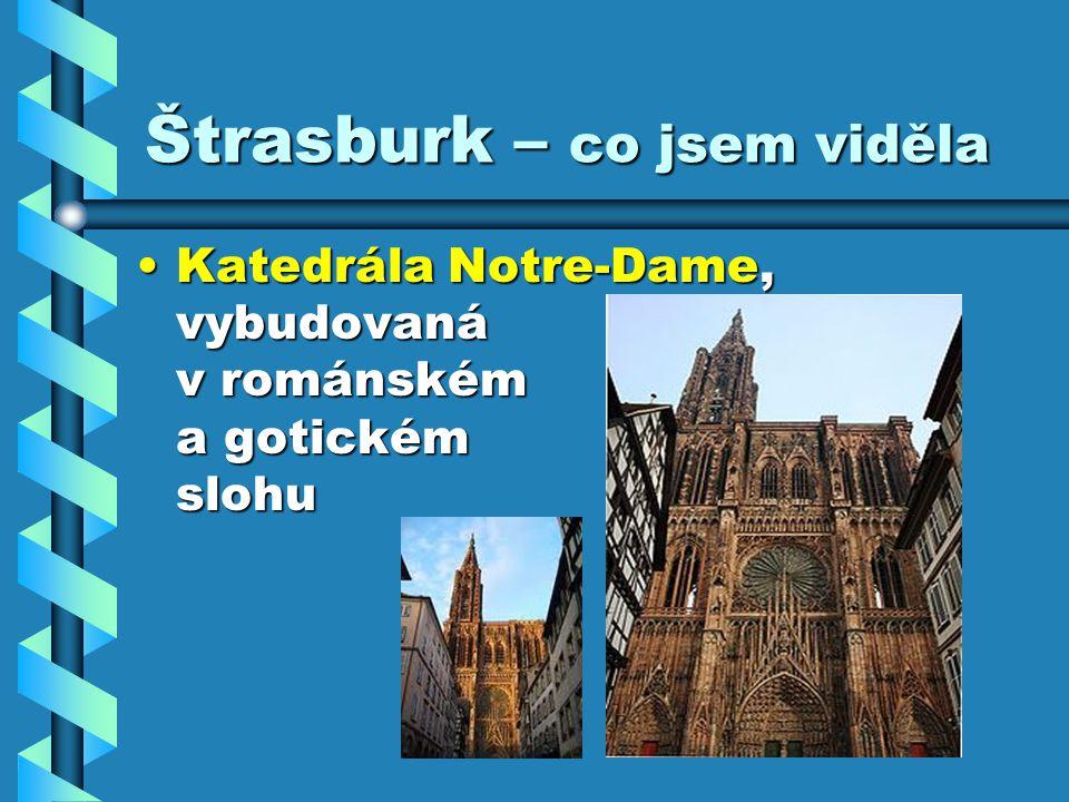 Štrasburk – co jsem viděla Katedrála Notre-Dame, vybudovaná v románském a gotickém slohuKatedrála Notre-Dame, vybudovaná v románském a gotickém slohu