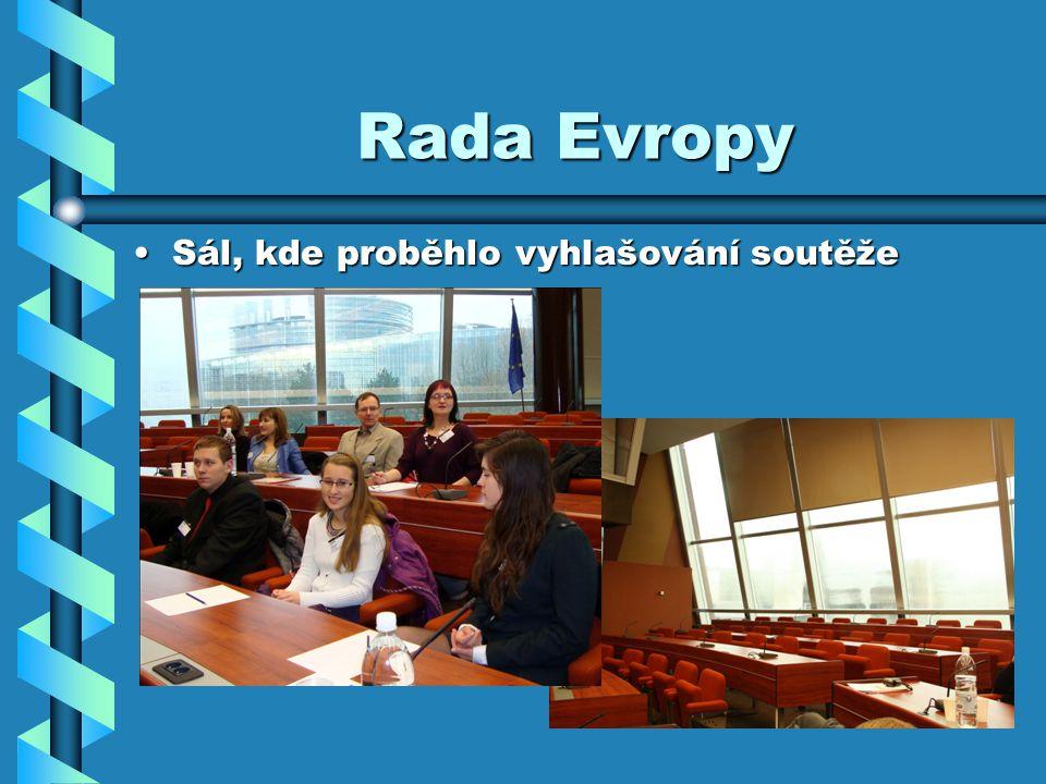 Rada Evropy Sál, kde proběhlo vyhlašování soutěžeSál, kde proběhlo vyhlašování soutěže