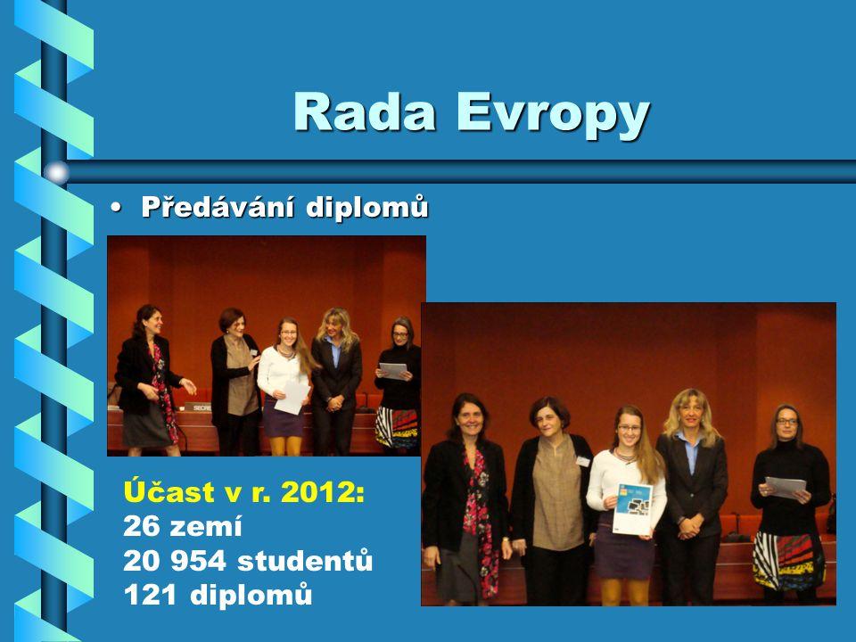 Rada Evropy Předávání diplomůPředávání diplomů Účast v r. 2012: 26 zemí 20 954 studentů 121 diplomů