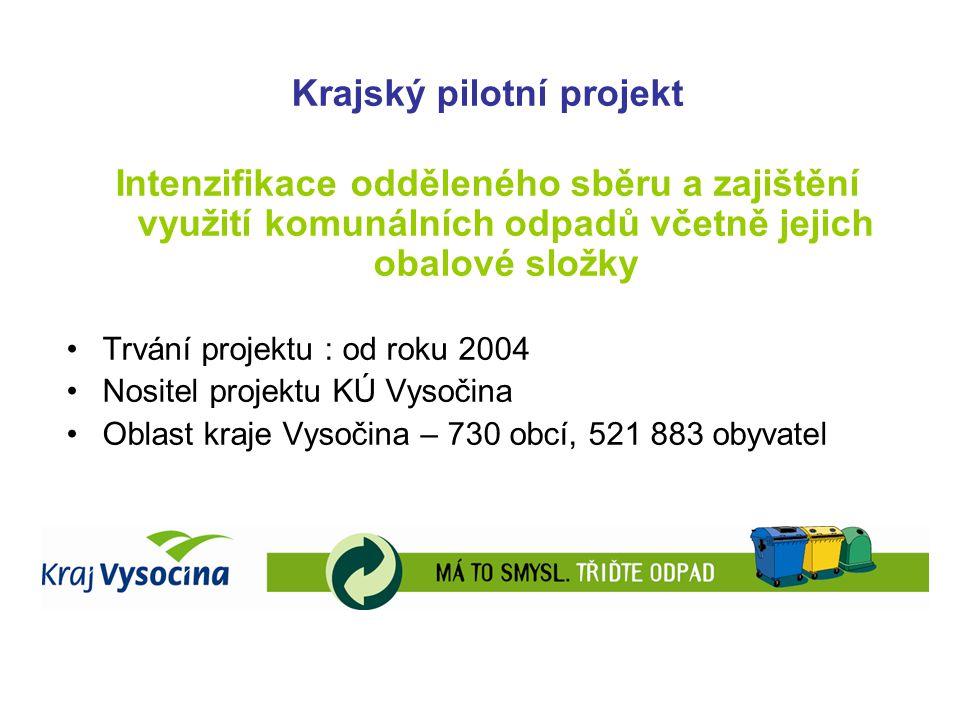 Krajský pilotní projekt Intenzifikace odděleného sběru a zajištění využití komunálních odpadů včetně jejich obalové složky Trvání projektu : od roku 2