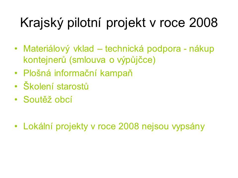 Krajský pilotní projekt v roce 2008 Materiálový vklad – technická podpora - nákup kontejnerů (smlouva o výpůjčce) Plošná informační kampaň Školení sta