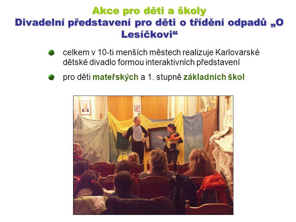 """Akce pro děti a školy Divadelní představení pro děti o třídění odpadů """"O Lesíčkovi"""" celkem v 10-ti menších městech realizuje Karlovarské dětské divadl"""