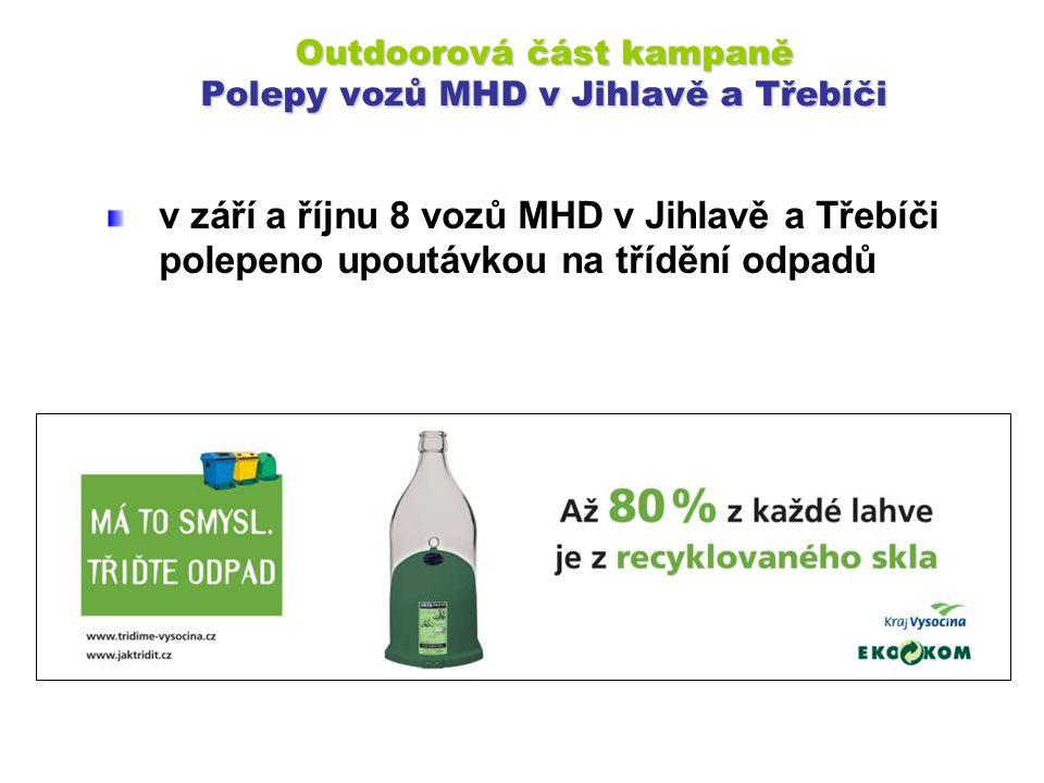 Outdoorová část kampaně Polepy vozů MHD v Jihlavě a Třebíči v září a říjnu 8 vozů MHD v Jihlavě a Třebíči polepeno upoutávkou na třídění odpadů