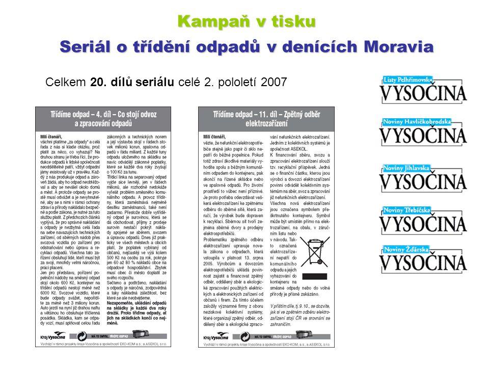 Kampaň v tisku Seriál o třídění odpadů v denících Moravia Celkem 20. dílů seriálu celé 2. pololetí 2007