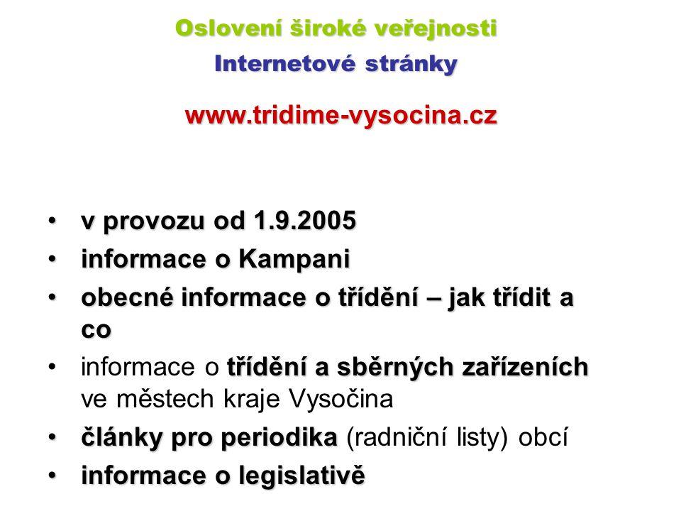 www.tridime-vysocina.cz v provozu od 1.9.2005v provozu od 1.9.2005 informace o Kampaniinformace o Kampani obecné informace o třídění – jak třídit a co