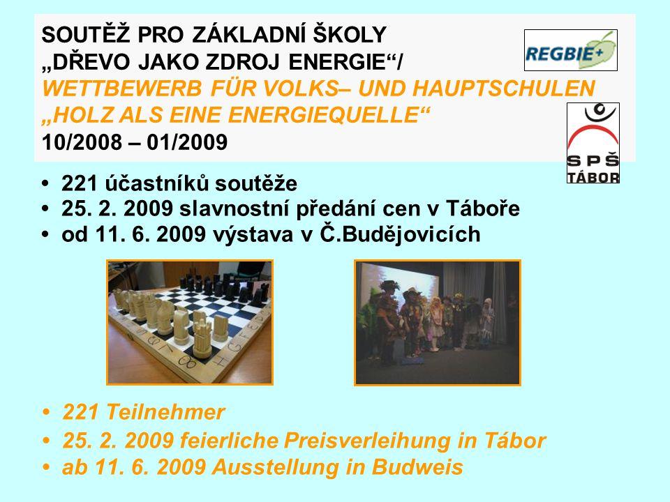 221 účastníků soutěže 25. 2. 2009 slavnostní předání cen v Táboře od 11.