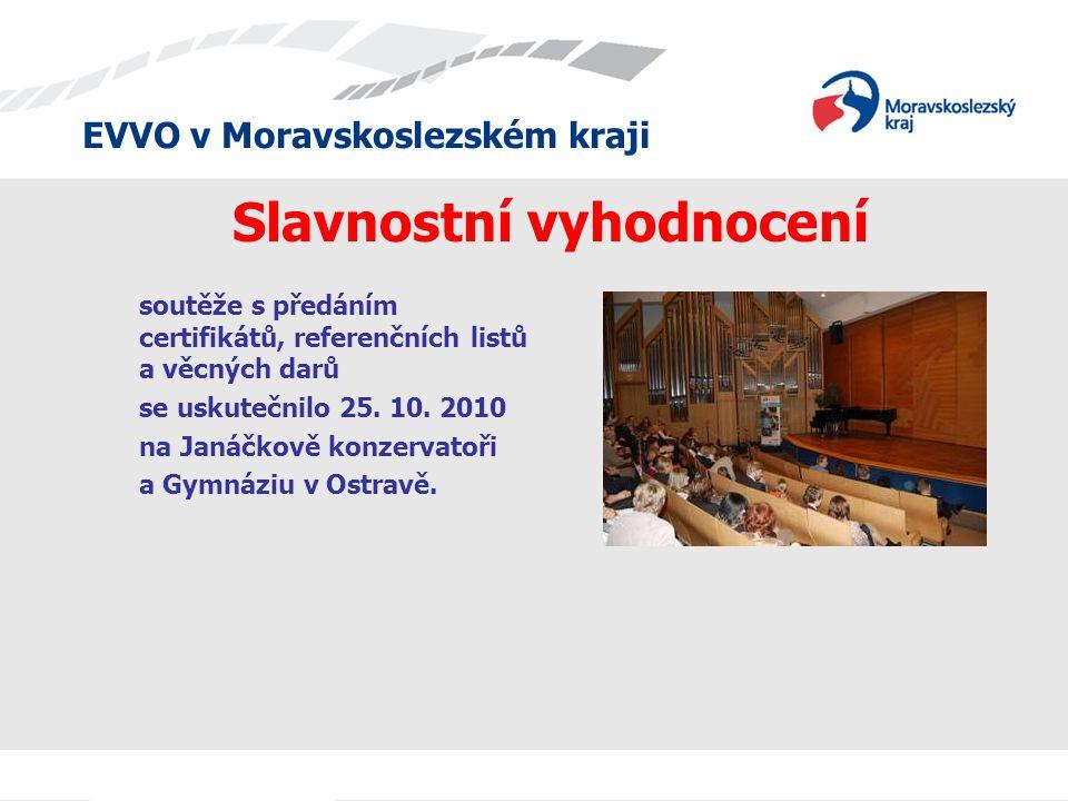 EVVO v Moravskoslezském kraji soutěže s předáním certifikátů, referenčních listů a věcných darů se uskutečnilo 25. 10. 2010 na Janáčkově konzervatoři