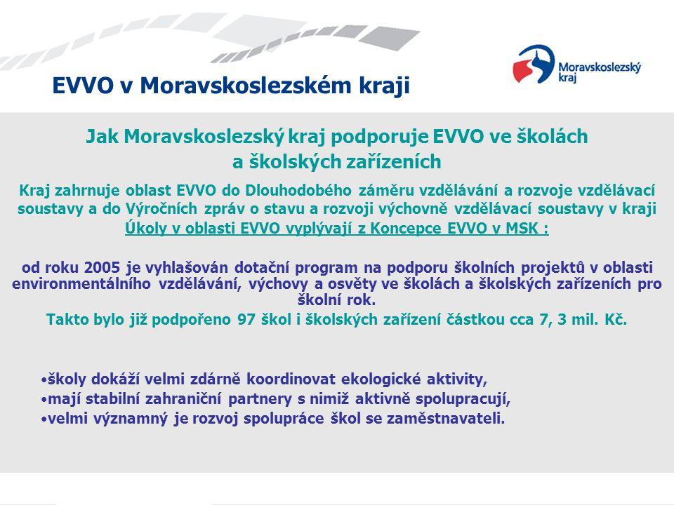 EVVO v Moravskoslezském kraji Jak Moravskoslezský kraj podporuje EVVO ve školách a školských zařízeních Kraj zahrnuje oblast EVVO do Dlouhodobého zámě