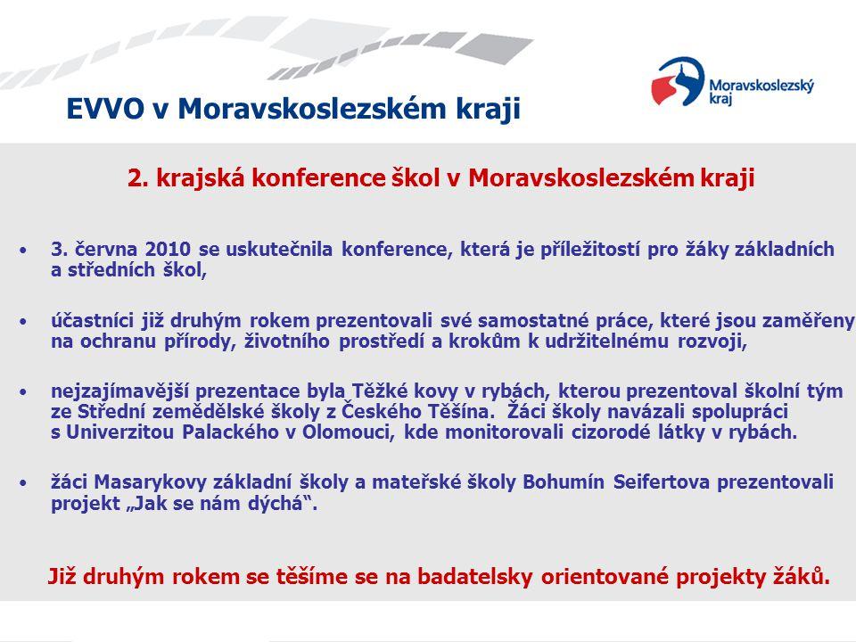 EVVO v Moravskoslezském kraji 2. krajská konference škol v Moravskoslezském kraji 3. června 2010 se uskutečnila konference, která je příležitostí pro