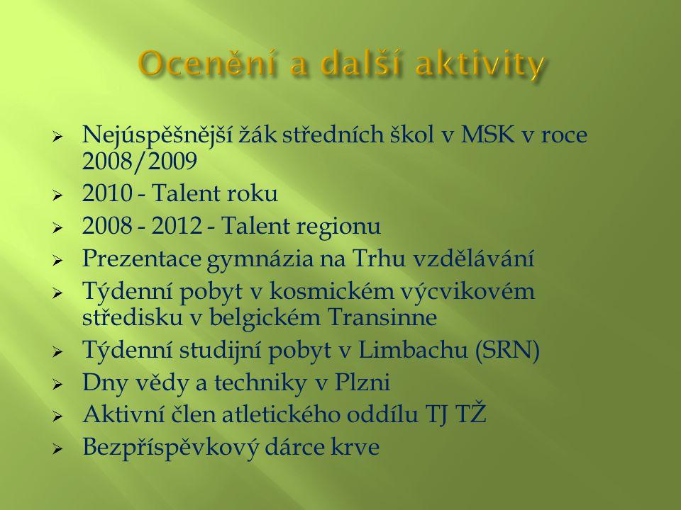  Nejúspěšnější žák středních škol v MSK v roce 2008/2009  2010 - Talent roku  2008 - 2012 - Talent regionu  Prezentace gymnázia na Trhu vzdělávání  Týdenní pobyt v kosmickém výcvikovém středisku v belgickém Transinne  Týdenní studijní pobyt v Limbachu (SRN)  Dny vědy a techniky v Plzni  Aktivní člen atletického oddílu TJ TŽ  Bezpříspěvkový dárce krve