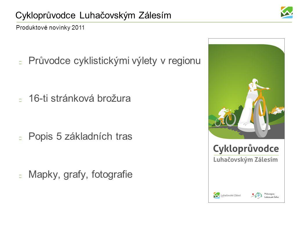 Produktové novinky 2011 Cykloprůvodce Luhačovským Zálesím Průvodce cyklistickými výlety v regionu 16-ti stránková brožura Popis 5 základních tras Mapky, grafy, fotografie