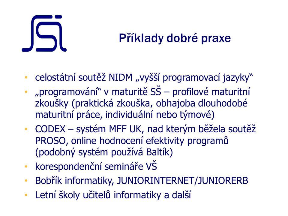 """Příklady dobré praxe celostátní soutěž NIDM """"vyšší programovací jazyky """"programování v maturitě SŠ – profilové maturitní zkoušky (praktická zkouška, obhajoba dlouhodobé maturitní práce, individuální nebo týmové) CODEX – systém MFF UK, nad kterým běžela soutěž PROSO, online hodnocení efektivity programů (podobný systém používá Baltík) korespondenční semináře VŠ Bobřík informatiky, JUNIORINTERNET/JUNIORERB Letní školy učitelů informatiky a další"""