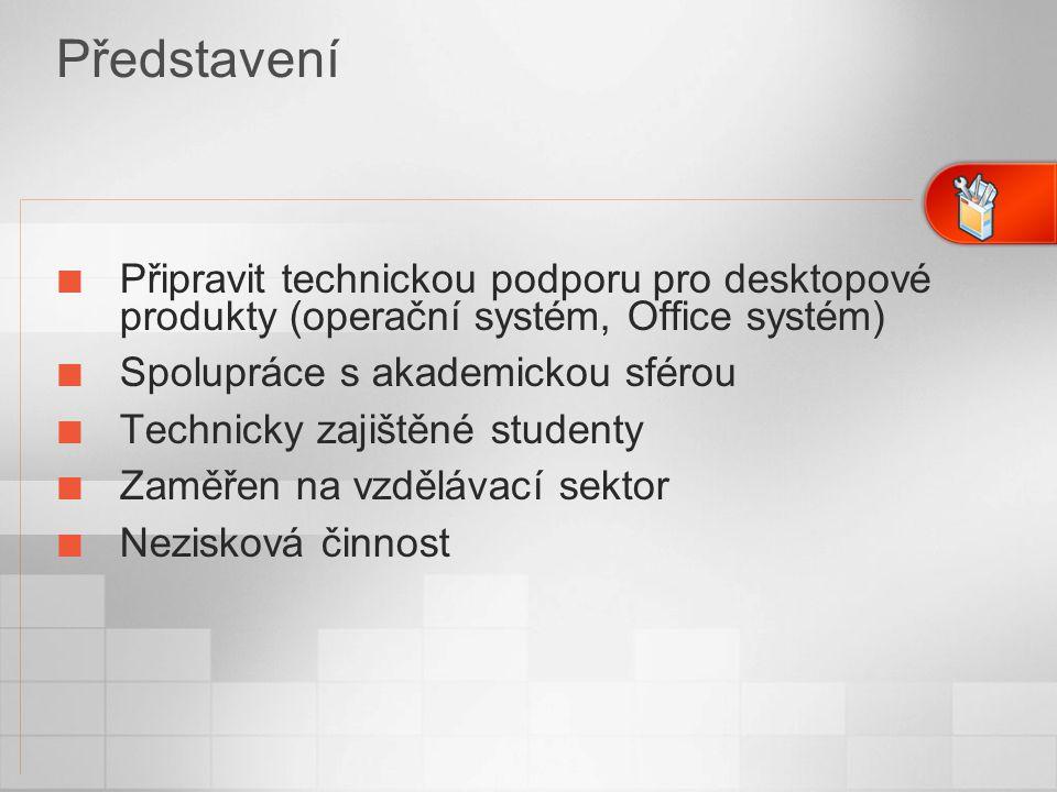 Připravit technickou podporu pro desktopové produkty (operační systém, Office systém) Spolupráce s akademickou sférou Technicky zajištěné studenty Zaměřen na vzdělávací sektor Nezisková činnost Představení