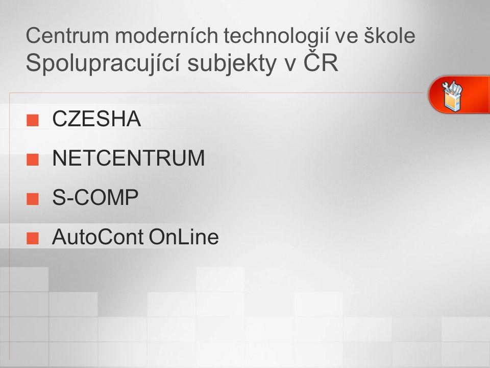 Centrum moderních technologií ve škole Spolupracující subjekty v ČR CZESHA NETCENTRUM S-COMP AutoCont OnLine
