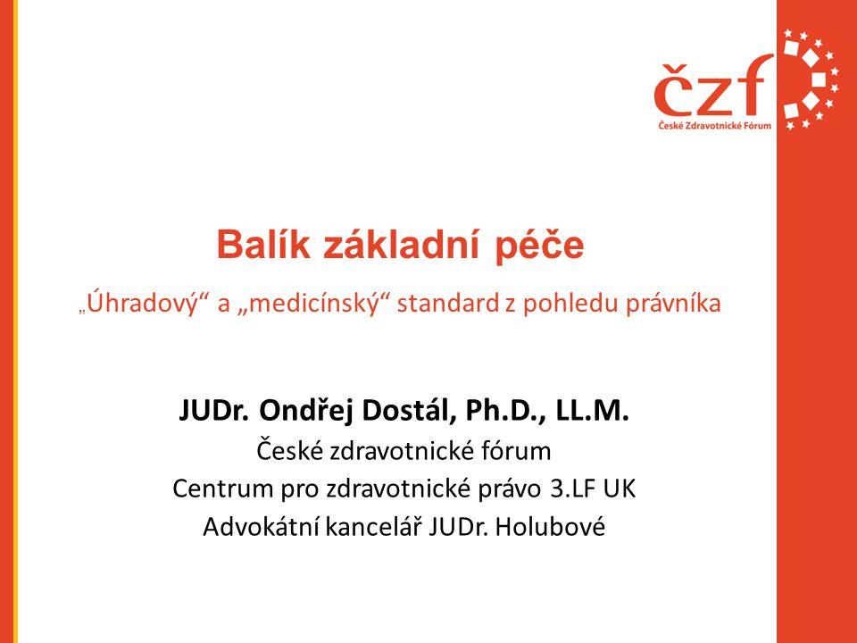 """Balík základní péče """" Úhradový a """"medicínský standard z pohledu právníka JUDr."""