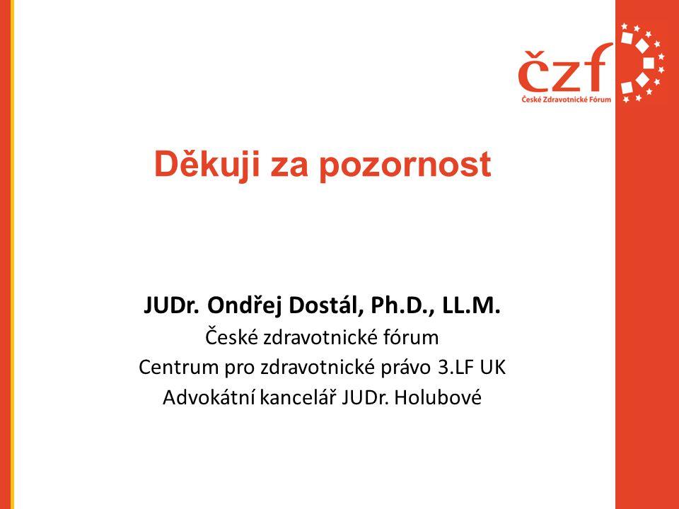 Děkuji za pozornost JUDr. Ondřej Dostál, Ph.D., LL.M. České zdravotnické fórum Centrum pro zdravotnické právo 3.LF UK Advokátní kancelář JUDr. Holubov