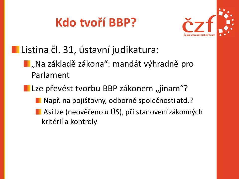 """Kdo tvoří BBP? Listina čl. 31, ústavní judikatura: """"Na základě zákona"""": mandát výhradně pro Parlament Lze převést tvorbu BBP zákonem """"jinam""""? Např. na"""