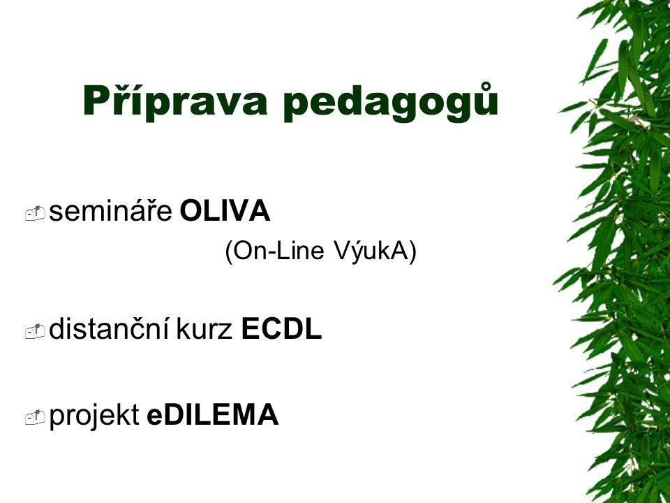 Příprava pedagogů  semináře OLIVA (On-Line VýukA)  distanční kurz ECDL  projekt eDILEMA