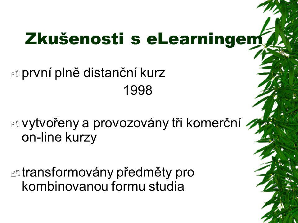 Zkušenosti s eLearningem  první plně distanční kurz 1998  vytvořeny a provozovány tři komerční on-line kurzy  transformovány předměty pro kombinovanou formu studia