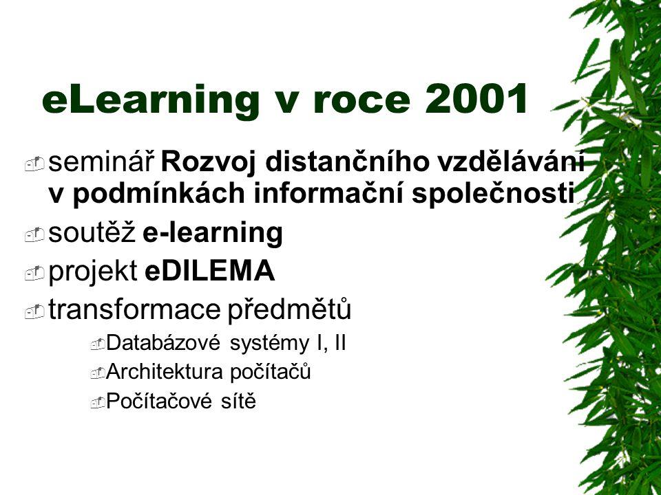 eLearning v roce 2001  seminář Rozvoj distančního vzdělávání v podmínkách informační společnosti  soutěž e-learning  projekt eDILEMA  transformace předmětů  Databázové systémy I, II  Architektura počítačů  Počítačové sítě