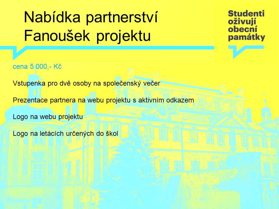 Nabídka partnerství Fanoušek projektu cena 5 000,- Kč Vstupenka pro dvě osoby na společenský večer Prezentace partnera na webu projektu s aktivním odk