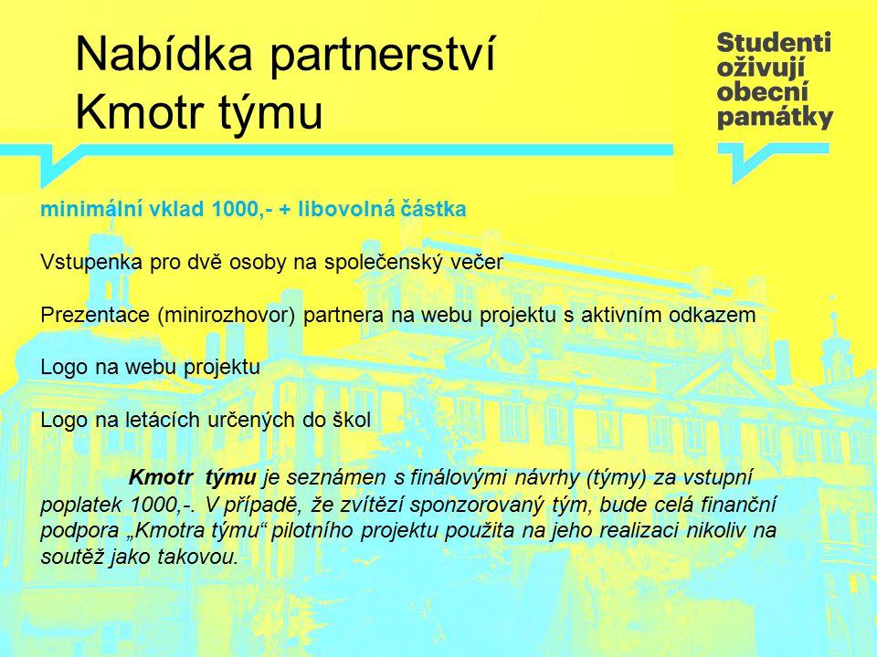 Nabídka partnerství Kmotr týmu minimální vklad 1000,- + libovolná částka Vstupenka pro dvě osoby na společenský večer Prezentace (minirozhovor) partne
