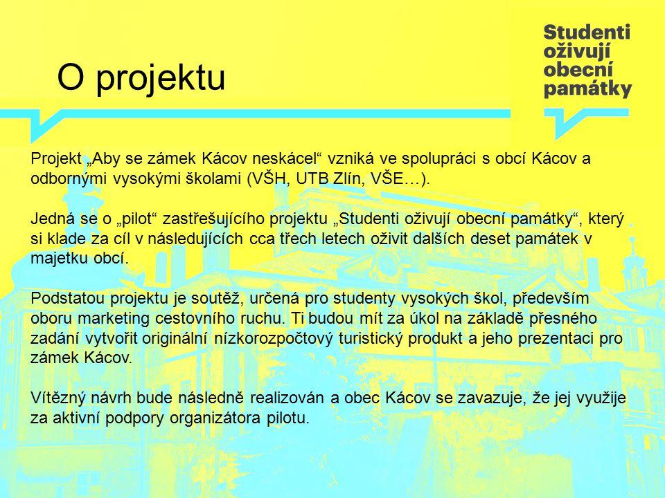 """O projektu Projekt """"Aby se zámek Kácov neskácel"""" vzniká ve spolupráci s obcí Kácov a odbornými vysokými školami (VŠH, UTB Zlín, VŠE…). Jedná se o """"pil"""