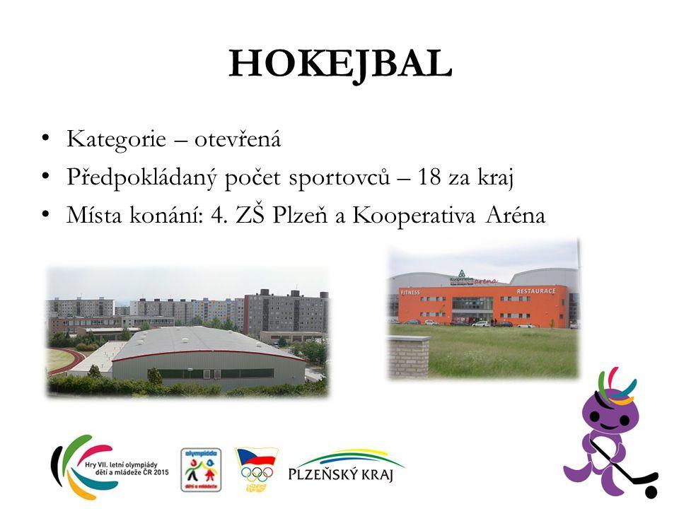 HOKEJBAL Kategorie – otevřená Předpokládaný počet sportovců – 18 za kraj Místa konání: 4. ZŠ Plzeň a Kooperativa Aréna