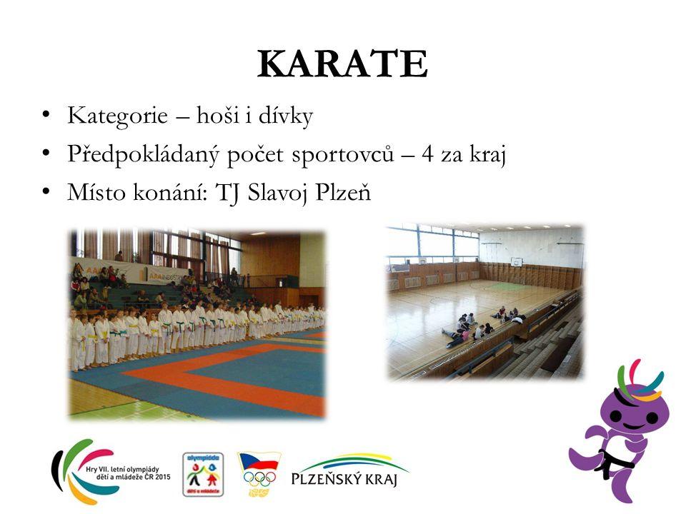 KARATE Kategorie – hoši i dívky Předpokládaný počet sportovců – 4 za kraj Místo konání: TJ Slavoj Plzeň