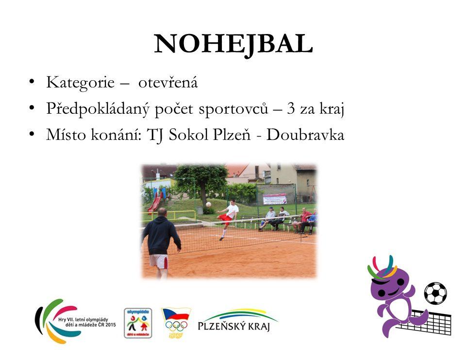 NOHEJBAL Kategorie – otevřená Předpokládaný počet sportovců – 3 za kraj Místo konání: TJ Sokol Plzeň - Doubravka