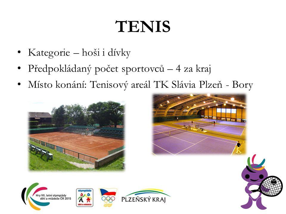 TENIS Kategorie – hoši i dívky Předpokládaný počet sportovců – 4 za kraj Místo konání: Tenisový areál TK Slávia Plzeň - Bory