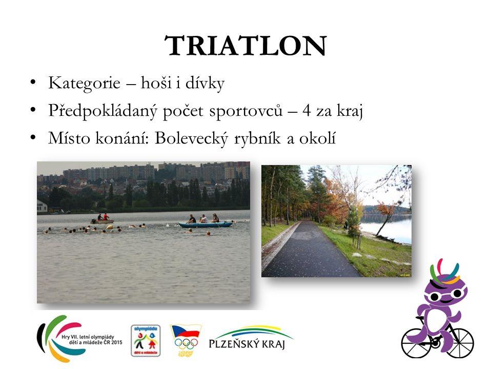 TRIATLON Kategorie – hoši i dívky Předpokládaný počet sportovců – 4 za kraj Místo konání: Bolevecký rybník a okolí