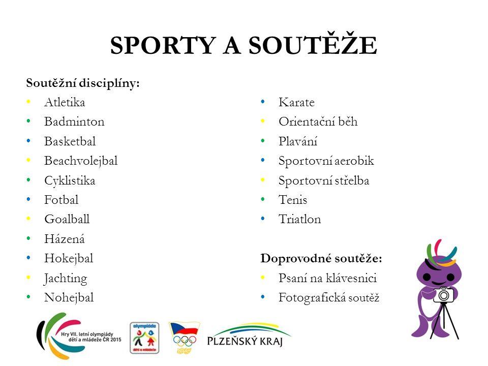 SPORTY A SOUTĚŽE Soutěžní disciplíny: Atletika Badminton Basketbal Beachvolejbal Cyklistika Fotbal Goalball Házená Hokejbal Jachting Nohejbal Karate O